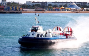 Picture beach, squirt, shore, speed, Bay, the hovercraft, Hovercraft