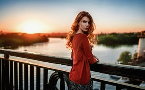 Picture Sunset, The sun, Girl, Bridge, Look, River, Russian, Beautiful, Attractive, Antonina Bragin