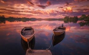 Picture forest, the sky, sunset, lake, boats, pier, Norway, chain