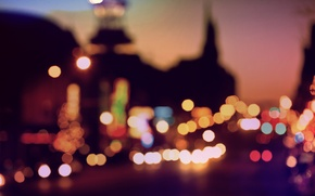 Picture lights, street, the evening, cars, in the city center