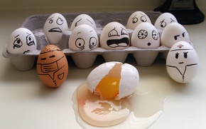 Picture emotions, box, eggs, drop, horror, the yolk