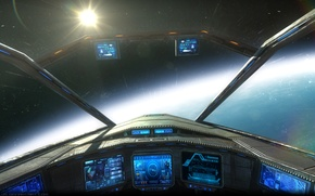 Picture space, fiction, ship, panel, sci-fi