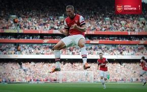 Picture background, male, player, Arsenal, stadium, Arsenal, Lukas Podolski, Football Club, The Gunners, The gunners, Football …
