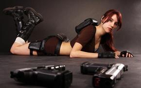 Picture girl, guns, lies, Tomb Raider, grenades, cosplay, Lara Croft