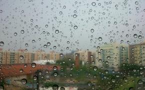 Picture bokeh, drops, buildings, rainy