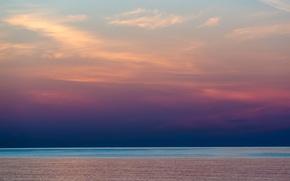 Picture sea, sunrise, horizon