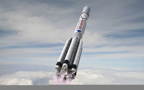 Wallpaper the sky, space, labels, fire, earth, the atmosphere, rocket, flight, Russia, Proton