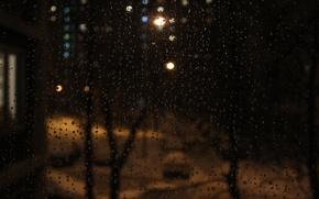 Picture drops, light, snow, rain, window