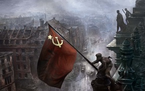 Picture flag, May 9, victory day, soldiers
