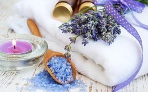 Picture towel, candles, lavender, lavender, candles, towel, sea salt, lavender flowers, lavender flowers, sea salt
