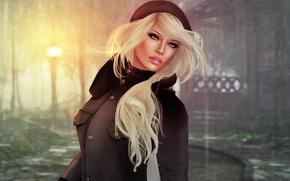 Wallpaper girl, face, rendering, background, hair, blonde, lips, coat