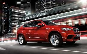 Picture night, red, bmw, speed, jeep, Boomer, bmw x6, Beha, икс6