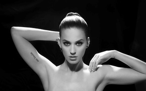 Picture girl, brunette, Katy Perry, Katy Perry, singer, black background, tattoo