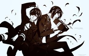 Picture white background, kuroshitsuji, Ciel, Sebastian, Dark Butler