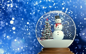 Picture snow, tree, ball, New Year, Christmas, snowman, winter, snow, New Year, globe, Cristmas