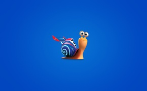 Picture snail, minimalism, blue background, Turbo, Turbo, snail