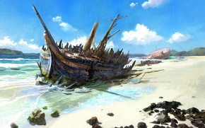 Picture sea, shore, the crash, ships, the skeleton, art