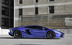 Picture blue, profile, lamborghini, drives, blue, aventador, lp700-4, Lamborghini, aventador