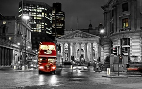 Picture bus, street, black and white, road, England, London, blur, city, the city, lights, lights, night, ...