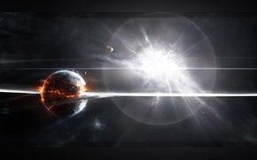 Picture fire, planet, explosions