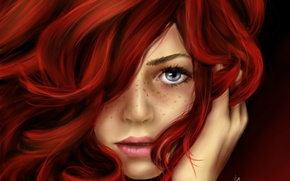 Picture look, girl, face, hair, art, freckles, red, painting, curls