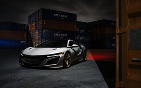Wallpaper NSX, Acura, HRE, Wheels, Front, Supercar