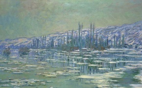 Picture landscape, picture, Claude Monet, Ice floes on the Seine
