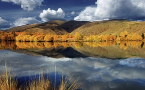 Picture autumn, clouds, trees, lake, reflection, hills