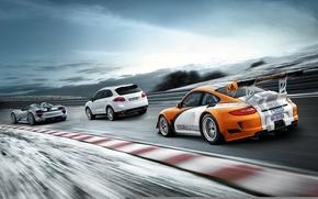 Picture road, machine, mix, three, sports car, Porsche, different