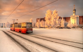 Picture winter, Saint Petersburg, tram, January