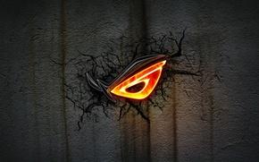 Picture dark, wallpaper, logo, black, ASUS, Rog, cracks