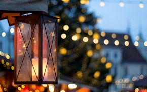 Picture macro, holiday, light, the city, lights, street, bokeh, candle, lantern