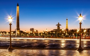 Picture road, bridge, the city, France, Paris, the evening, pavers, excerpt, lighting, lights, fountain, Eiffel tower, ...