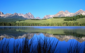 Wallpaper the sky, mountains, nature, trees, river, landscape