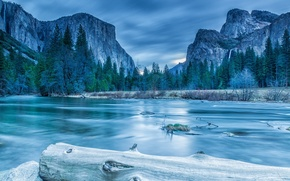 Picture spruce, mountains, ice, log, winter, trees, Sierra Nevada, lake, clouds, Yosemite, landscape, rocks, National Park, ...