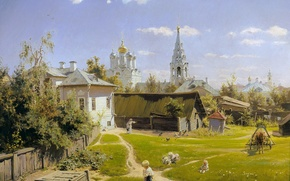 Picture summer, the sky, clouds, house, picture, the barn, well, Church, painting, lawn, Polenov, dome, Moscow …