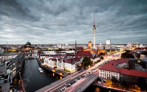 Picture lights, twilight, river, bridge, Germany, dusk, traffic, Berlin, blue hour, cityscape, cloudy, TV tower, urban …