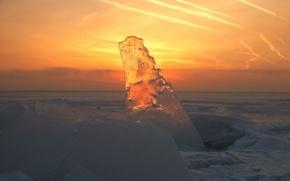 Wallpaper sunset, transparent, Ice