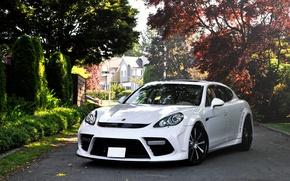 Picture white, street, supercar, Porsche, Turbo, Mansory, Porsche Panamera
