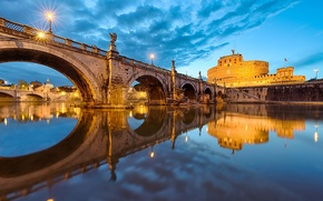Wallpaper the sky, water, the city, reflection, river, the evening, lighting, Rome, Italy, Italy, Rome, The ...