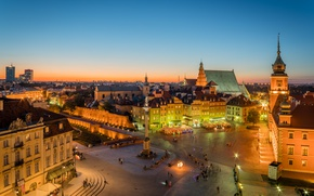 Picture lights, building, the evening, area, Poland, Warsaw, old town, Old Town, Warsaw