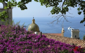 Picture roof, sea, trees, flowers, house, ship, mountain, Italy, the dome, Positano, Salerno
