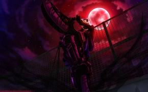 Picture moon, night, motorcycle, stars, sturluson selty, durarara!!