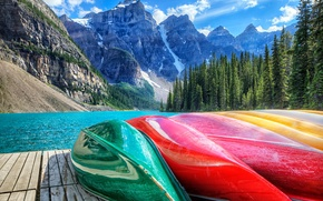 Picture forest, mountains, lake, Marina, Canada, canoe