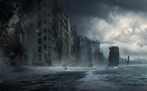 Picture sea, wave, the city, fiction, home, destruction, oblivion
