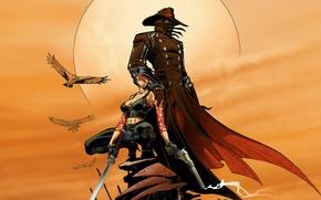 Wallpaper weapons, hat, cloak, Red, glow, people, smoke, birds, girl, the sun, Steel, West, cartoon