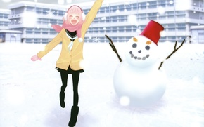 Picture girl, scarf, snowman, vocaloid, Vocaloid, luka, just Be Friends