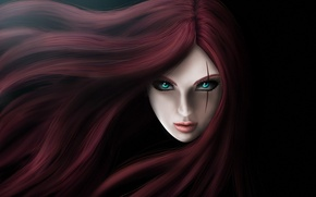 Picture eyes, girl, face, hair, art, scar, Katarina, League of legends, The Sinister Blade