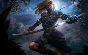 Picture look, leaves, girl, trees, weapons, fiction, mask, art
