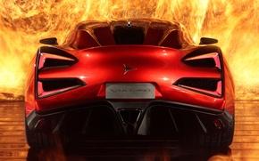 Picture fire, supercar, rear view, Icon, Vulcano, Vulcan, Icona